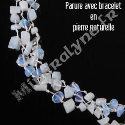 Parure collier et bracelet 3 rangs Pierre de Lune.