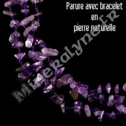 Parure collier et bracelet 3 rangs Améthyste.