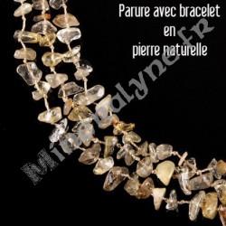 Parure collier et bracelet 3 rangs Citrine.