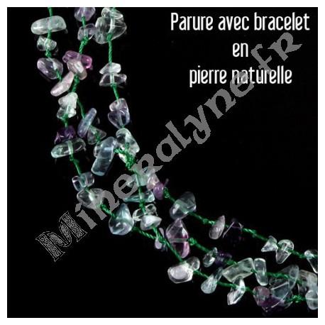 Parure collier et bracelet 3 rangs Fluorine.