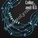 Parure collier et boucles d'oreilles 7 rangs Howilte Turquoise.