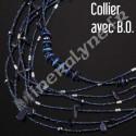 Parure collier et boucles d'oreilles 7 rangs Pierre de Soleil bleue.