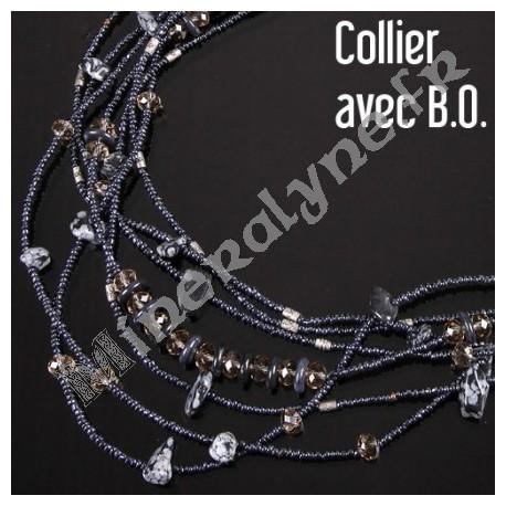 Parure collier et boucles d'oreilles 7 rangs Obsidienne mouchetée.