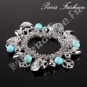 Bracelet perlettes Howlite Turquoise et pampilles agentées.