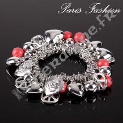Bracelet perlettes Howlite Teinté rouge et pampilles agentées.