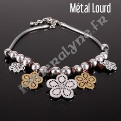 Collier fleurs ajourées en métal et céramique brune