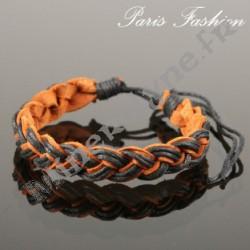 Bracelet brésilien tressé noir et caramel