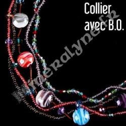 Parure 5 rangs de perles de verre multicolore et boucles d'oreilles