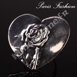 Bague XL rose sculptée sur coeur