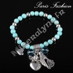 Bracelet élasique pampilles d'amour et perlettes turquoises