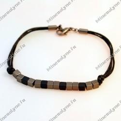 Bracelet Hématite sur cordon cuir