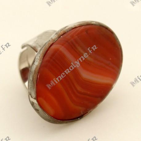 Bague ajustable ovale Orange en pierre d'Agate