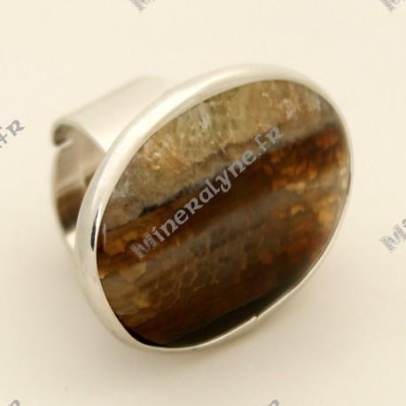 Bague ajustable en pierre d'Agate Miel