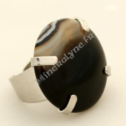 Bague ajustable Vague Hertzienne en pierre d'Agate