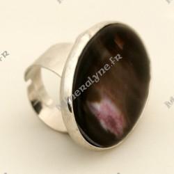 Bague ajustable Aurore Boréale rosée en pierre d'Agate