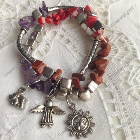 Bracelet breloques Soleil Eléphant Ange - Corail, améthyste et pierre de soleil