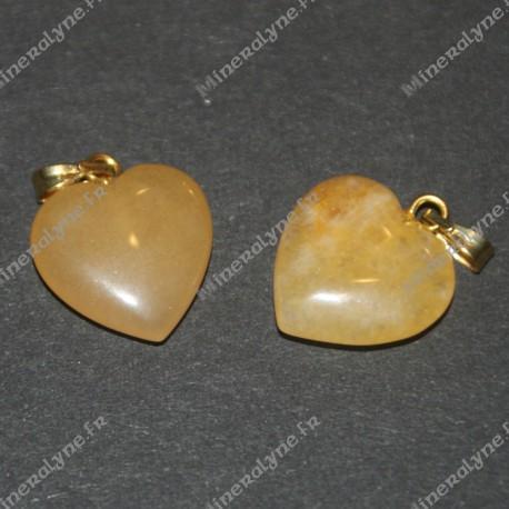 Pendentif Jade jaune coeur 15mm