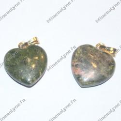 Pendentif Jaspe vert coeur 15mm