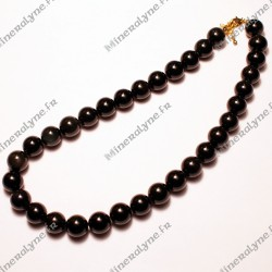 Collier Obsidienne oeil céleste 12mm