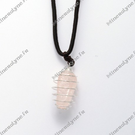 Collier cage PM Quartz rose