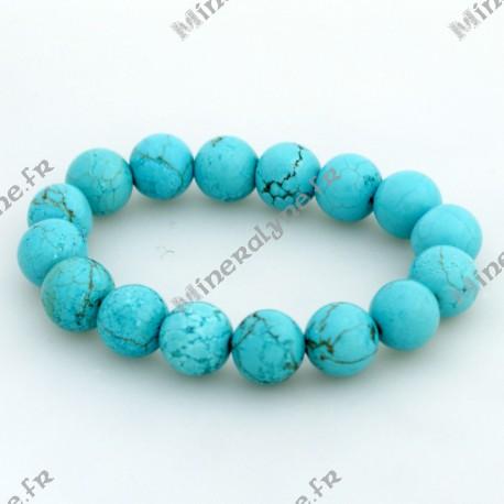 Bracelet Howlite teinte turquoise 12mm