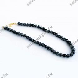 Collier Obsidienne mouchetée 8mm