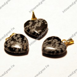 Pendentif Obsidienne mouchetée coeur 15mm