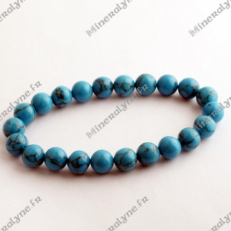 Bracelet Howlite teinte turquoise 8 mm