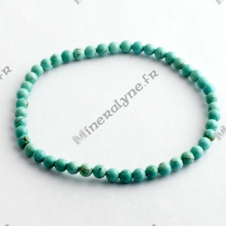 Bracelet Howlite teinte turquoise 4 mm