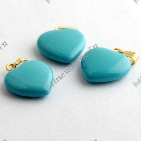 Pendentif Howlite teinte turquoise coeur 15mm