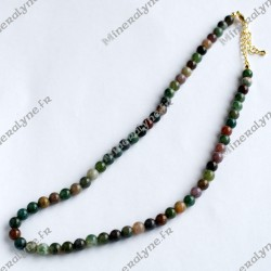 Collier Agate Indienne 6 mm