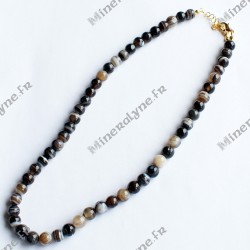 Collier Onyx noir rubané 8 mm