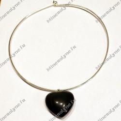 Collier Obsidienne oeil céleste coeur