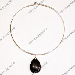 Collier Obsidienne oeil céleste goutte plate