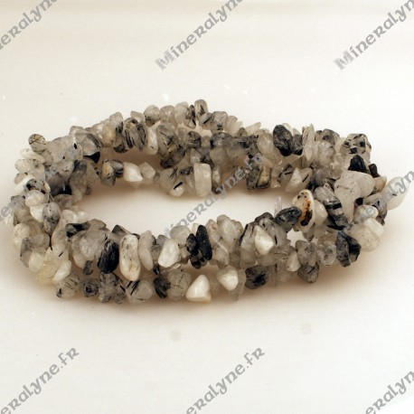 Collier baroque Quartz inclusion Tourmaline 90 cm
