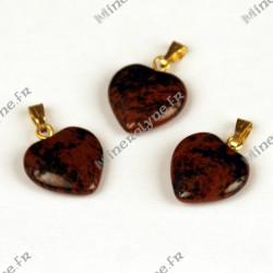 Pendentif Obsidienne brune coeur 15mm