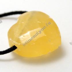 Pendentif coeur facetté Calcite orange