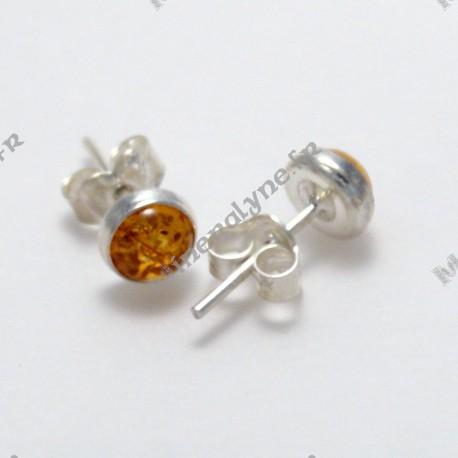 Boucles d'oreilles cabochon Ambre Argent 925