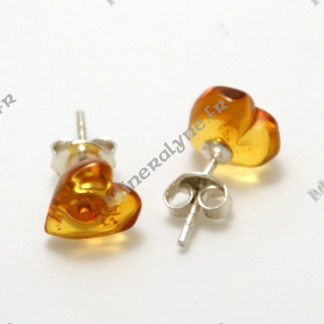 Boucles d'oreilles coeur Ambre Argent 925