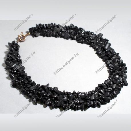 Collier baroque 5 rangs Onyx 42 cm