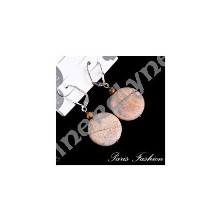 Boucles d'oreilles disque Jaspe Paysage.