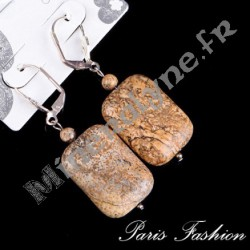 Boucles d'oreilles rectangle Jaspe Paysage.