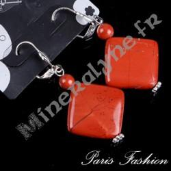 Boucles d'oreilles XL losange Jaspe rouge.