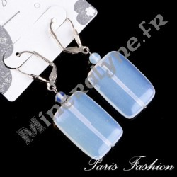 Boucles d'oreilles XL rectangle Pierre de Lune.